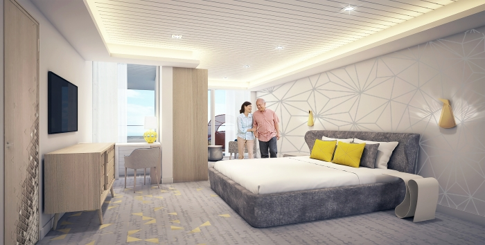 For families that want to experience more quality time together, Spectrum of the Seas will introduce the two-level, 2,809-square-foot Ultimate Family Suite to accommodate up to 11 guests. The three-bedroom suite will include a master bedroom and two additional suites for grandparents and other family members.