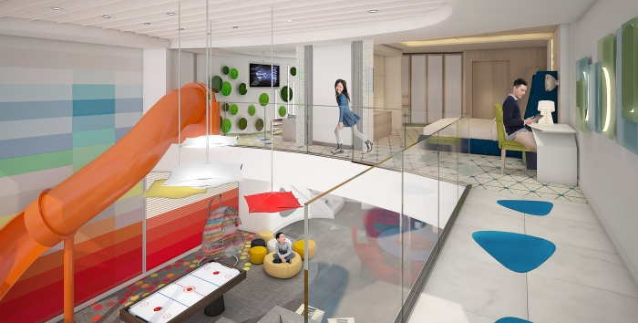 For families that want to experience more quality time together, Spectrum of the Seas will introduce the two-level, 2,809-square-foot Ultimate Family Suite to accommodate up to 11 guests. The kids have their own kid-friendly space on the upper level, complete with an in-suite slide to transport them to the living area below.