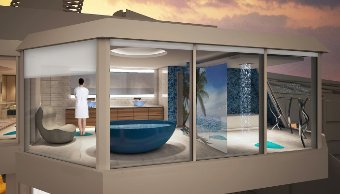 For families that want to experience more quality time together, Spectrum of the Seas will introduce the two-level, 2,809-square-foot Ultimate Family Suite to accommodate up to 11 guests. The three-bedroom suite will include a master bedroom with a bathroom that extends over the side of the ship to provide unparalleled ocean views.