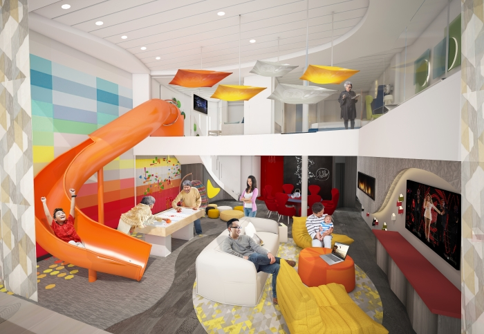 For families that want to experience more quality time together, Spectrum of the Seas will introduce a two-level, 2,809-square-foot, Ultimate Family Suite accommodating up to 11 guests. The three-bedroom suite, will include a master bedroom along with two additional suites for grandparents and other family members. The kids have their own kid-friendly space on the upper level complete with an in-suite slide transporting them to the living area below.