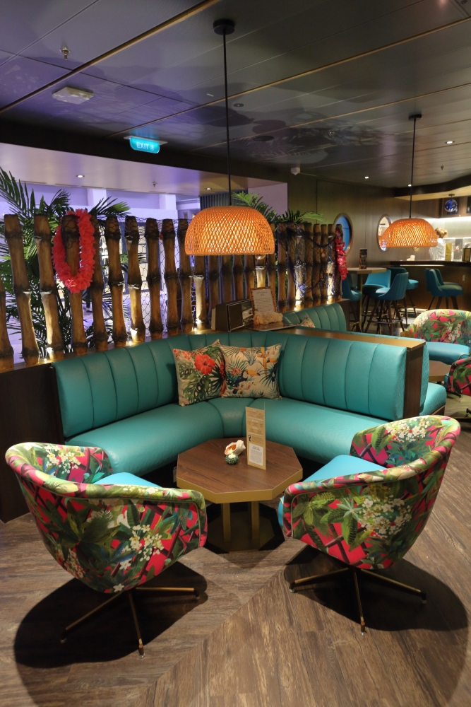 A first in Royal Caribbean's fleet, The Bamboo Room is a laid back Polynesian watering hole on the new reimagined Mariner of the Seas.
