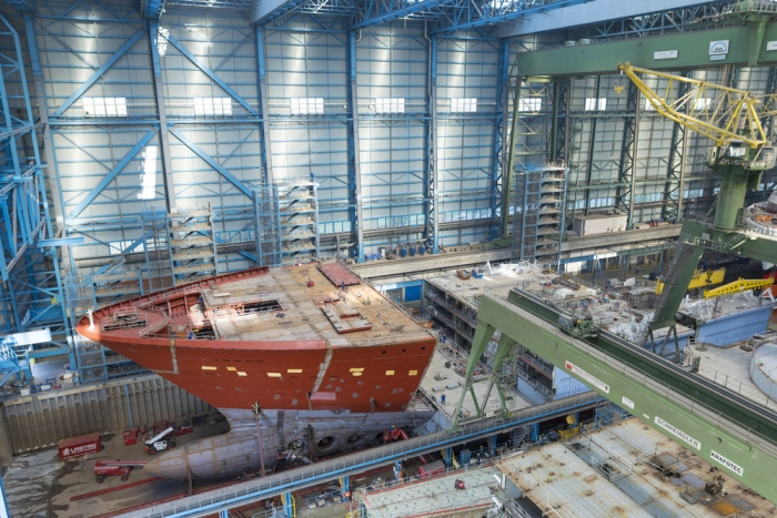 July 2018 – Spectrum of the Seas under construction at the Meyer Werft shipyard in Papenburg, Germany. The ship is scheduled to be delivered in April 2019.