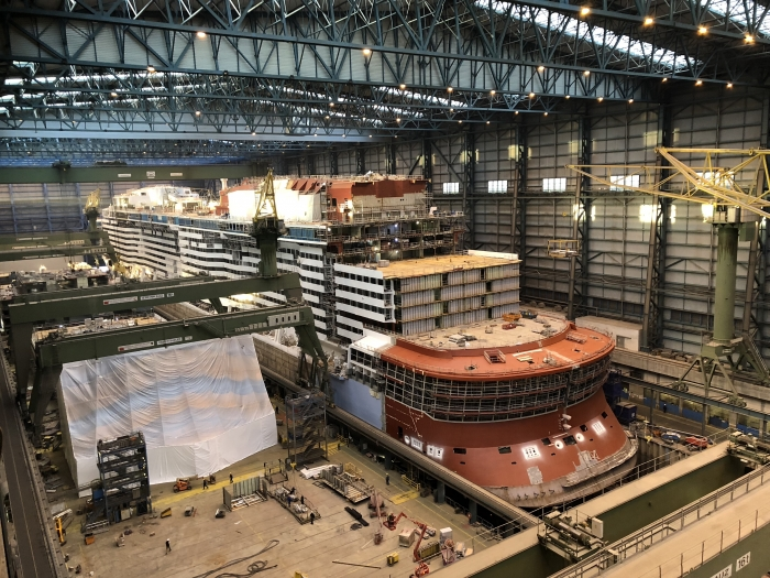 October 2018 - Spectrum of the Seas under construction at the Meyer Werft shipyard in Papenburg, Germany. The ship is scheduled to be delivered in April 2019.