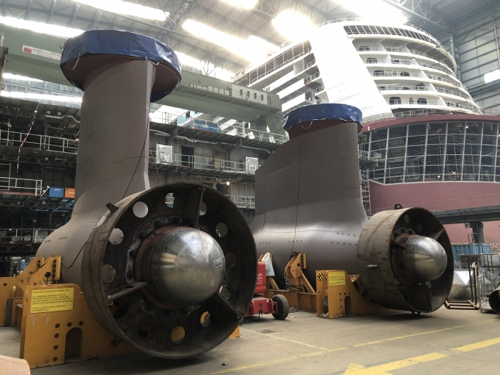 October 2018 – Spectrum of the Seas receives her two azipods. The azipods are used to propel and safety maneuver the ship on the high seas.