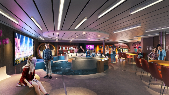 """The teen areas on board Navigator of the Seas will sport updates with a redesigned Living Room, the teen-only laidback hangout, as well as a new """"hidden"""" entrance and outdoor deck that serves up nothing but chill vibes."""