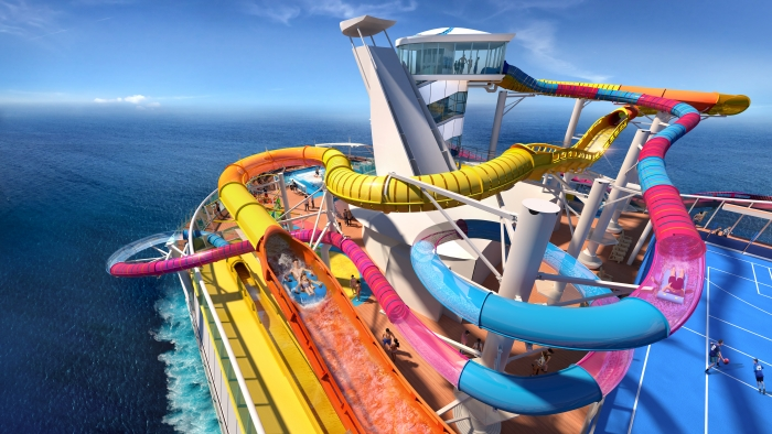 The Perfect Storm brings a new wave of excitement with the boldest duo of waterslides yet. Hearts will pound when guests take on The Blaster, the cruise line's first-ever aqua coaster and the longest waterslide at sea. Adventure seekers will hop on a two-person raft that will propel them through more than 800 feet of hills, drops and straightaways, which includes extending over the side of the ship for a rush of ocean air.