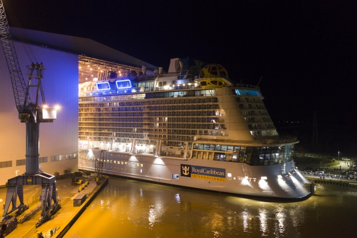 February 2019 – Spectrum of the Seas was floated out today at the Meyer Werft ship yard in Papenburg, Germany
