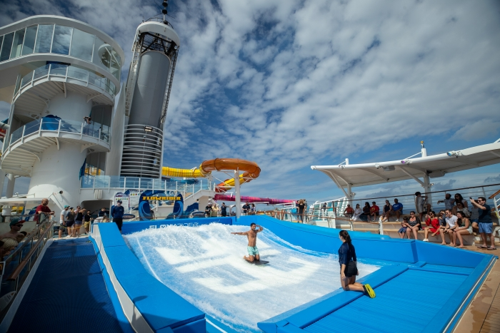 The aft of Navigator of the Seas features the ship's FlowRider surf simulator, The Perfect Storm waterslides, the Sports Court and the rock-climbing wall.