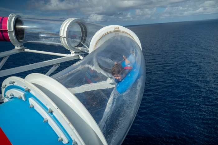The Riptide is the industry's only headfirst mat racer waterslide, complete with an exhilarating finish through a translucent tube for endless ocean views.