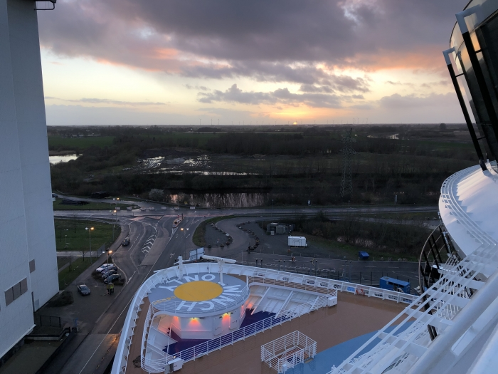 March 2019 – Spectrum of the Seas prepares for her upcoming conveyance down the Ems River.