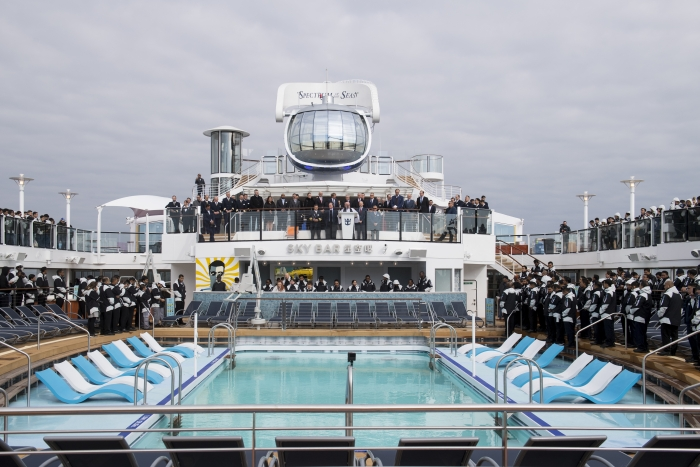 Royal Caribbean International, the world's largest cruise line,â?¯officially took delivery of the 26th shipâ?¯in its fleet,â?¯Spectrum of the Seas, in a ceremony held today in Bremerhaven, Germany.â?¯The first in the Quantum Ultra class of ships,â?¯Spectrumâ?¯will homeport from Shanghai starting June 2019.