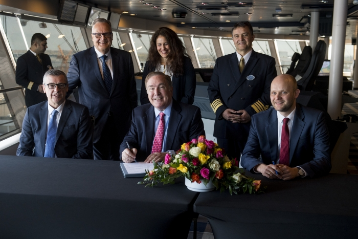 Royal Caribbean International, the world's largest cruise line,â?¯officially took delivery of the 26th shipâ?¯in its fleet,â?¯Spectrum of the Seas, in a ceremony held today in Bremerhaven, Germany. Pictured from left to right are: President and CEO of Royal Caribbean International Michael Bayley;  Royal Caribbean Cruises Ltd. Chairman and CEO Richard D. Fain; Meyer Werft Yard's Managing Director Tim Meyer; and Meyer Werft Yard's Managing Partner Bernard Meyer.â?¯The first in the Quantum Ultra class of ships,â?¯Spectrumâ?¯will homeport from Shanghai starting June 2019.