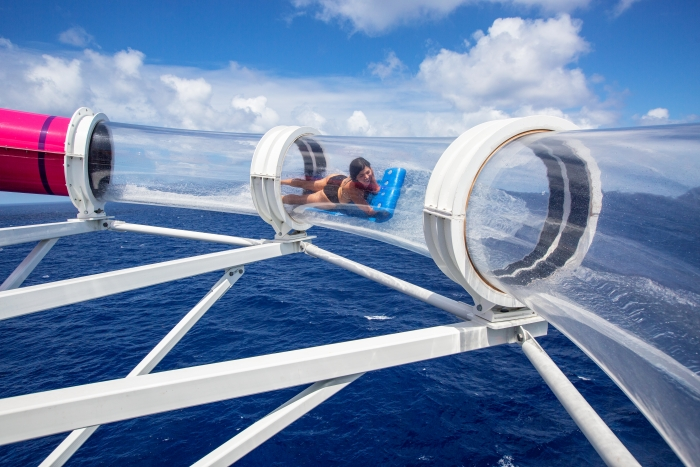 The Riptide is the industry's only headfirst mat racer waterslide, complete with an exhilarating finish through a translucent tube for endless ocean views