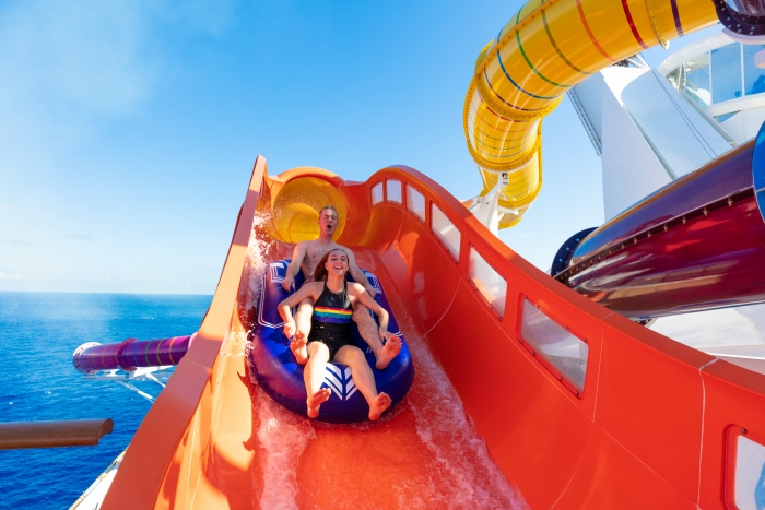 The Blaster is the cruise line's first aqua coaster and the longest waterslide at sea. The adrenaline-inducing slide propels thrill seekers through more than 800 feet of dips, drops and straightaways, and extends over the side of the ship.