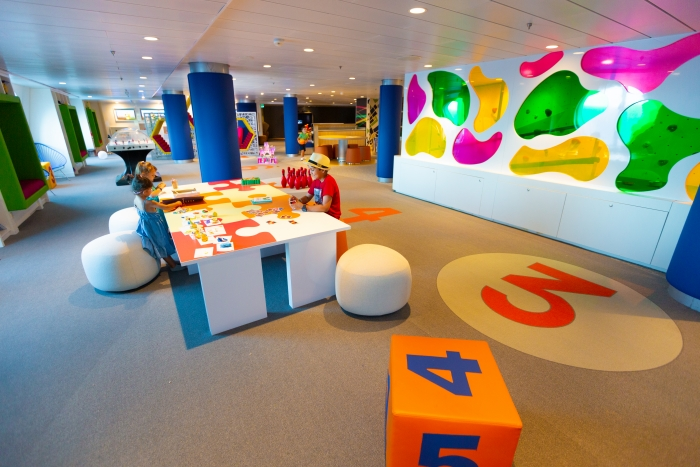 March 2019 - Younger kids sailing on the newly amplified Navigator of the Seas enjoy Royal Caribbean's new take on the Adventure Ocean youth offering in redesigned open, free play spaces.