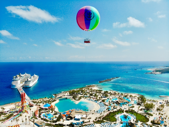 April 2019- With Up, Up and Away, thrill seekers will score a view unlike any other while drifting 450 feet above Perfect Day at CocoCay in a colorful helium balloon, allowing them to take in the island from the highest vantage point in The Bahamas.