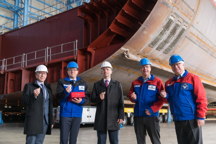 May 2019 – Excitement was in the air at the Meyer Werft shipyard in Papenburg, Germany, today, as Royal Caribbean International marked an important milestone in the development of Odyssey of the Seas. Scheduled to be delivered in fall 2020, Odyssey received its first block as the keel was officially lowered and put into place.