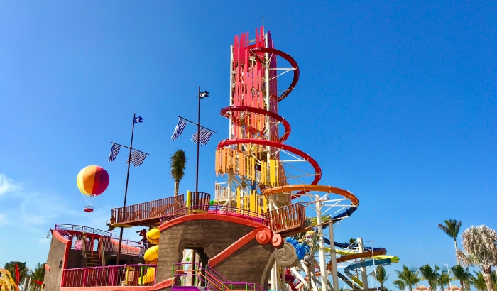 May 2019 – Perfect Day at CocoCay, Royal Caribbean's private island destination in The Bahamas, features an array of exciting features for kids of all ages. From three dry slides and 16 water cannons, to rope features and a splash pad, Captain Jill's Galleon is an interactive play structure loaded with swashbuckling thrills.