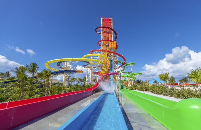 May 2019 – At the heart of Perfect Day at CocoCay, Royal Caribbean's private island destination in The Bahamas, is Thrill Waterpark, featuring Daredevil's Tower where Guests can push their limits on seven exhilarating single-rider waterslides of various heights, including the 135-foot-tall Daredevil's Peak – the tallest waterslide in North America. Additional highlights are the twin Dueling Demon drop slides, launching riders from a vertical position; the Manta Raycers, where friends can race down twin open flume slides; the high-speed, fully vertical Screeching Serpent; and the coiling Green Mamba, a massive aqua tube slide.
