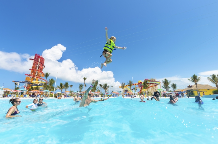 May 2019 -   At Perfect Day at CocoCay, Royal Caribbean's private island destination in The Bahamas, vacationers can ride the tide at the largest wave pool in the Caribbean.