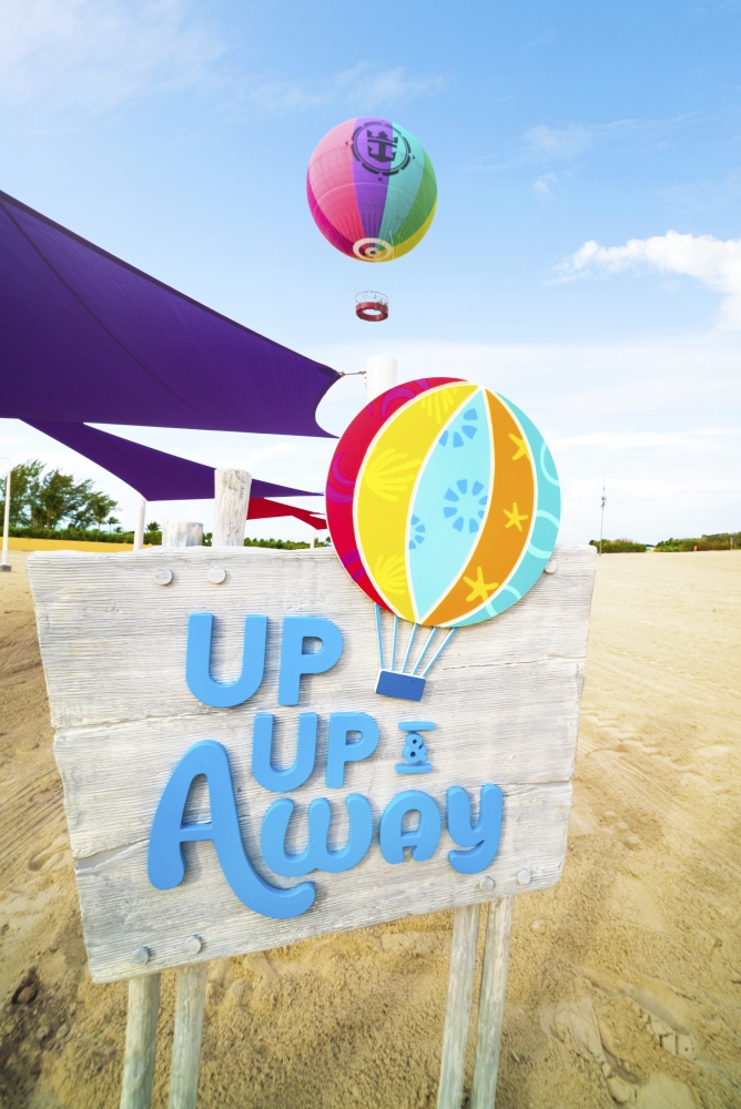 May 2019 - With Up, Up and Away, thrill seekers will score a view unlike any other while drifting 450 feet above Perfect Day at CocoCay in a colorful helium balloon, allowing them to take in the island from the highest vantage point in The Bahamas.
