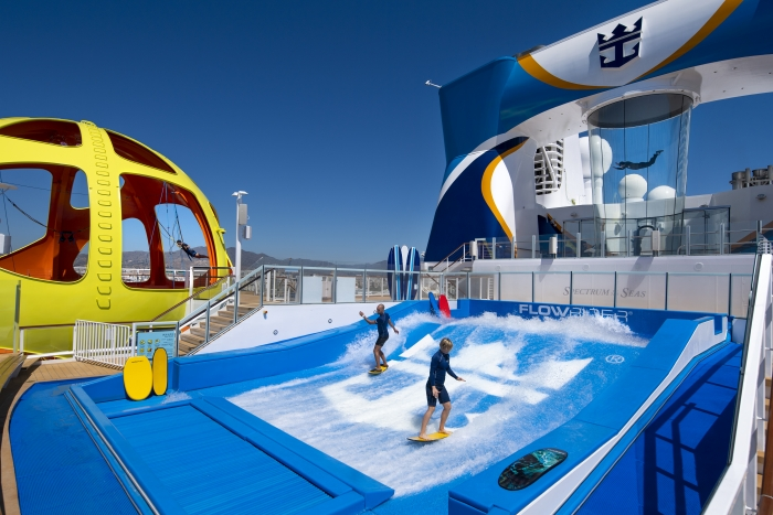 The iconic Sky Pad, a virtual reality, bungee trampoline experience located on the aft of the ship, RipCord by iFly, a heart-pounding skydiving simulator experience and the FlowRider surfing simulator provide non-stop thrills for guests on board Spectrum of the Seas.