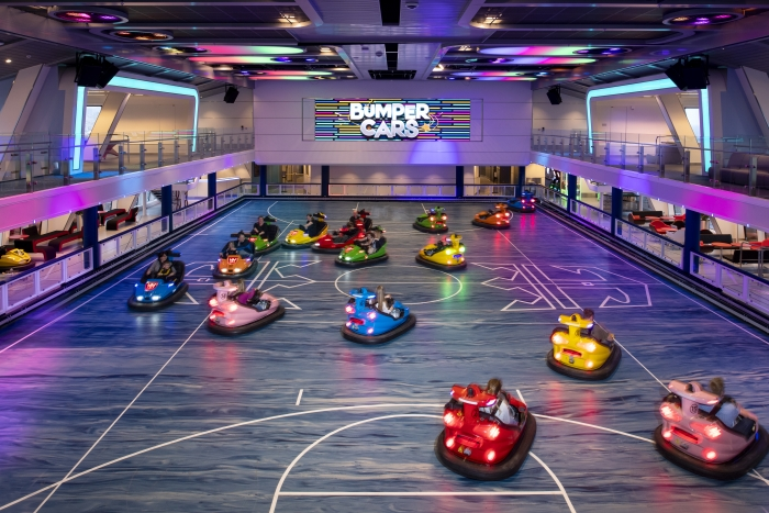 Spectrum of the Seas boasts an enhanced SeaPlex, the largest indoor sports and entertainment complex at sea, where families can enjoy bumper cars, roller skating, basketball, and new augmented reality walls and floors, providing guests with thrilling, high-tech interactive experiences.