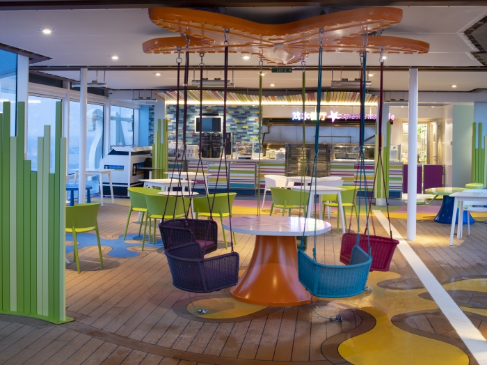 Splashaway Café on board Spectrum of the Seas is made just for the kids. Located near the kids' pool area on deck 14, it's the perfect, flip-flop-friendly spot to fuel up in between adventures.