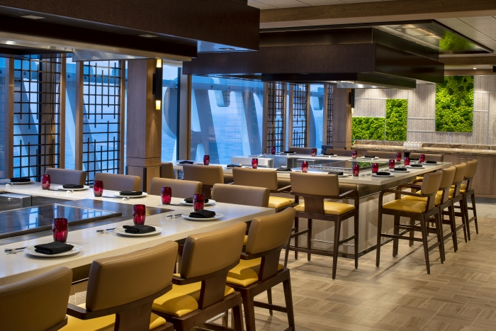 Indulge in a celebration of authentic oriental flavors cooked in Japan's traditional Teppanyaki style on board Spectrum of the Seas. From top grade steaks to succulent seafood, watch it all come together as an expert chef works right at the table.
