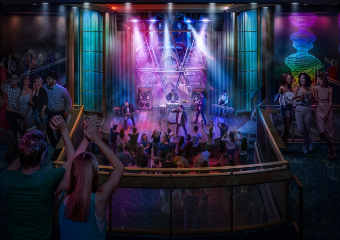 July 2019 - Live music venue Music Hall will make its Oasis Class debut on board Royal Caribbean's amplified Allure and Oasis of the Seas. A roster of live cover bands, an expansive dance floor and lounge seating across two levels give guests ample room to end the night on a high note.