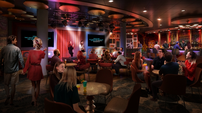 May 2019 – Nights out will take on a whole new meaning on board the newly amplified Oasis. The new Spotlight Karaoke on the Royal Promenade is where budding singers will be able to rock out to their favorite tunes at the dedicated karaoke venue's main stage or one of two private rooms.