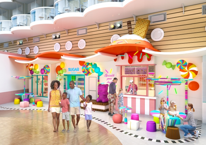 July 2019 – Sugar Beach, with more than 220 types of candy and ice cream, and a new walkup ice cream window, will be the icing on the tasty lineups aboard the amplified Allure and Oasis of the Seas. Among the dining options coming to the two Oasis Class ships are Playmakers Sports Bar & Arcade and El Loco Fresh, and returning favorites Chops Grille and Izumi.