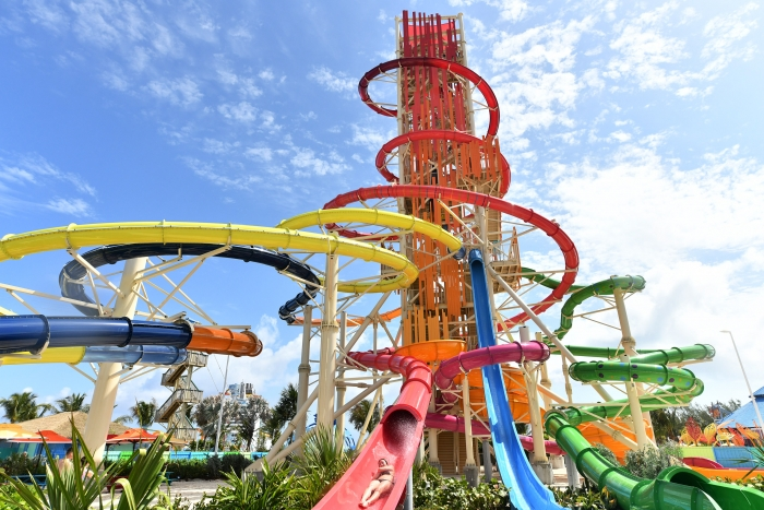 On May 4, guests plunged down the 135-foot-tall Daredevil's Peak – the tallest waterslide in North America – for the first time at Royal Caribbean's new private island in The Bahamas, Perfect Day at CocoCay.