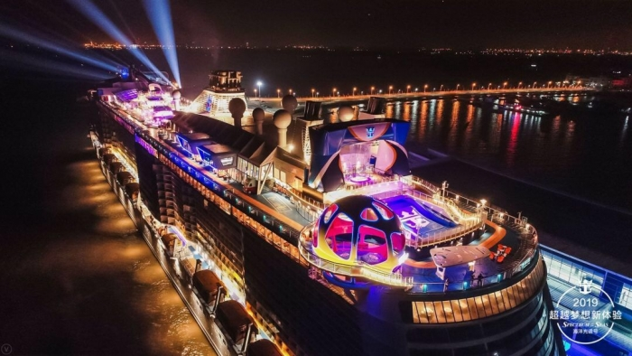 June 3, 2019 - Spectrum of the Seas, Royal Caribbean International's newest ship, made its highly anticipated debut in China today. The first Quantum Ultra Class ship sailed into the Shanghai Wusongkou International Cruise Terminal.
