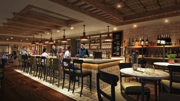 July 2019 – Following a $165 million transformation, Allure of Seas will debut a new take on a guest-favorite, Giovanni's Italian Kitchen & Wine Bar. The specialty restaurant will offer the beloved family-style, rustic dining experience with an enhanced menu of Italian staples, including hand-tossed pizza from the new in-house pizza oven, a varied charcuterie station and a wide selection of wines and limoncellos.