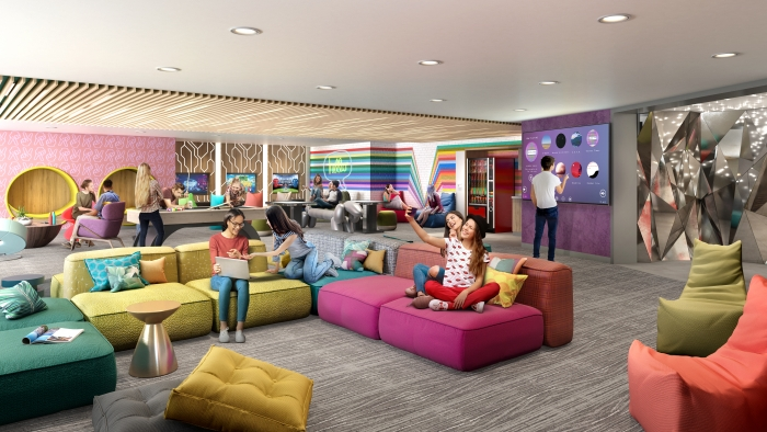 July 2019 – Following a 360-degree transformation, the dedicated teens spaces on board the amplified Allure and Oasis of the Seas will be where teens have the freedom to choose how they spend their time. The exclusive lounge will feature a secret speakeasy-like entrance, gaming consoles, music, movies, places to hang out and a new outdoor deck.