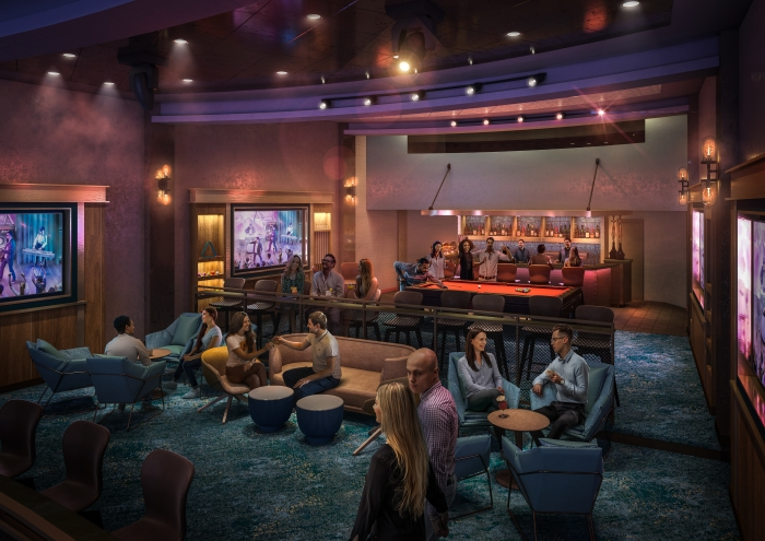 July 2019 – The popular, live music venue Music Hall will make its Oasis Class debut on board Royal Caribbean's amplified Allure and Oasis of the Seas. With a roster of live cover bands and where every seat is the best seat in the house, the venue will feature a second level with ample room for lounge seating, a pool table and bar.
