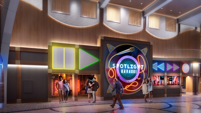 July 2019 – Nights out will take on a whole new meaning on board the amplified Allure and Oasis of the Seas. The new Spotlight Karaoke on the Royal Promenade is where budding singers can rock out to their favorite tunes on the dedicated karaoke venue's main stage or in one of two private rooms.