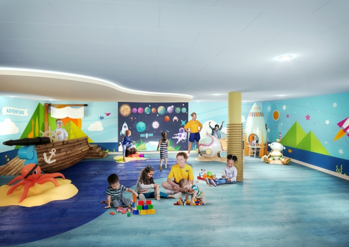 July 2019 – The award-winning Adventure Ocean program will be reimagined from top to bottom on board Allure and Oasis of the Seas. In the new AO Junior area, young guests can enjoy a dedicated, multipurpose space specially designed to deliver experiential adventures for 3- to 5-year-olds.