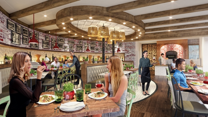 August 2019 - Giovanni's Italian Kitchen will feature a reimagined menu of authenticItaliandisheswith a contemporary flair. From made-to-orderpizzashand tossedfront and center, andbaked inthein-housepizza oven, to awide selection of wines and limoncellos, the lineup brings to life a fresh, new twist on a guest favorite.