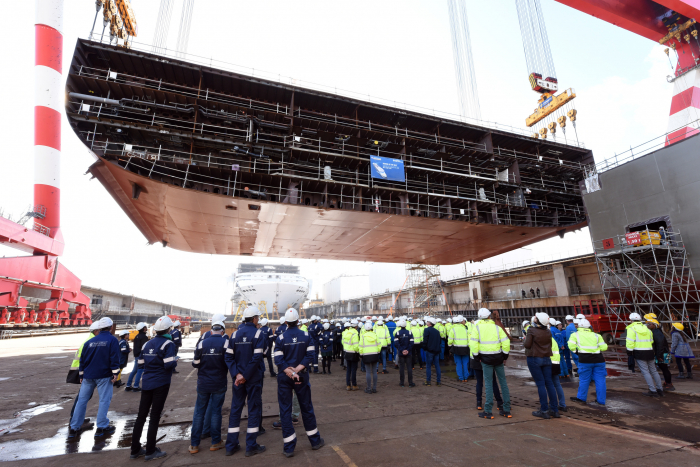 October 9, 2019: Today Saint-Nazaire, France, Wonder of the Seas keel was lowered into place at the Chantiers de l'Atlantique shipyard, marking the start of the ship's physical construction. During what is known as the keel-laying ceremony, a 970-ton block, measuring 155 feet by 65 feet, was lifted onto the building dock with a 1,400-ton crane. Photo credit Bernard Biger –Chantiers de l'Atlantique