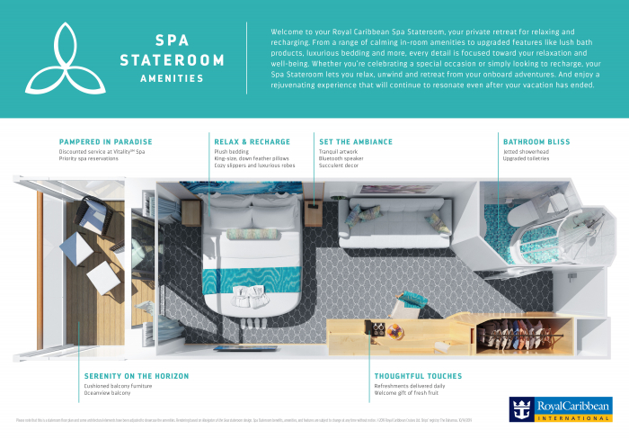 October 2019 – Royal Caribbean International's Spa Staterooms feature calming in-room amenities and upgraded features like lush bath products, luxurious bedding and more, every detail focused on relaxation and well-being. Spa Staterooms will allow guests to relax, unwind and retreat from the adventures onboard and provide a rejuvenating experience that will continue to resonate even after their vacation has ended.