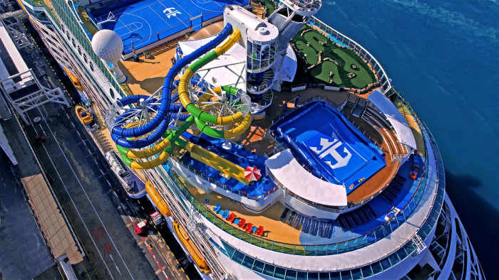 October 2019 - Following a major $97 million amplification, Voyager of the Seas set sail from its homeport in Singapore with new features and experiences, including The Perfect Storm multistory waterslides.