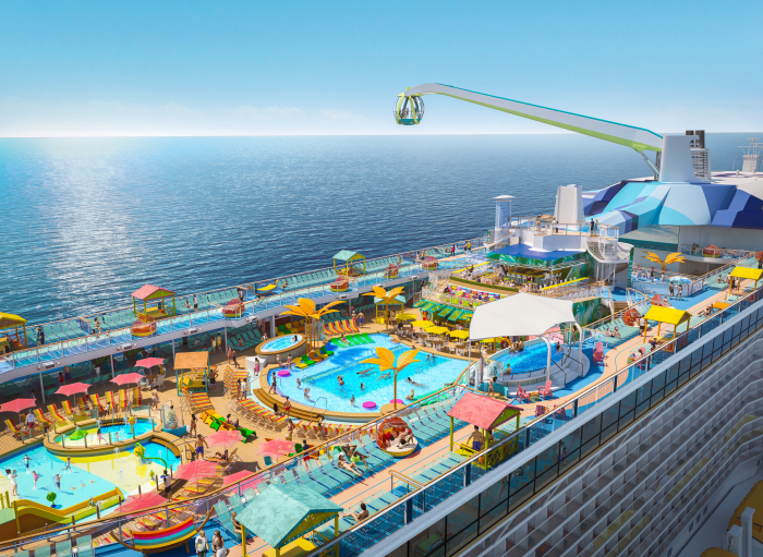 October 2019 – Debuting November 2020, Odyssey of the Seas will tout a vibrant, two-level pool deck, where two resort-style pools, a kids aqua park and four whirlpools are surrounded by shady casitas and hammocks, perfect for enjoying the sea breeze under the sun and stars.