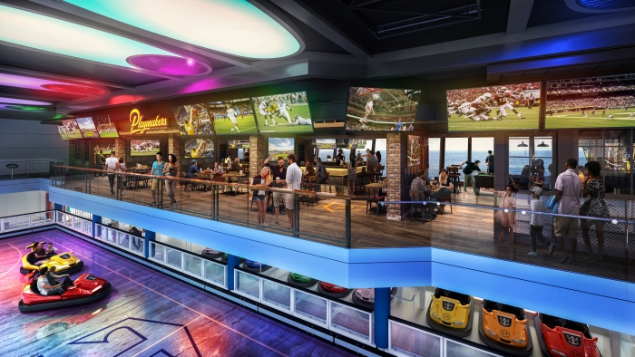 October 2019 – Odyssey of the Seas will combine the best of Quantum Class with new Royal Caribbean favorite Playmakers Sports Bar & Arcade, now boasting a prime location within SeaPlex. With TVs at every angle to cheer on the home team and club-level views of the competition below, sports fans won't miss a beat. Odyssey debuts in Fort Lauderdale, FL. in November 2020.