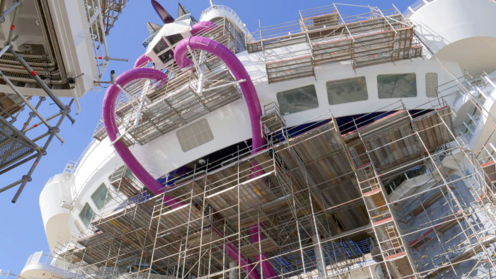November 2019 – The transformation of Oasis of the Seas takes shape as Royal Caribbean's $165 million amplification progresses in Cadiz, Spain. Set to debut on Nov. 24, Oasis will deliver new experiences, including the Ultimate Abyss, the tallest slide at sea; The Perfect Storm trio of waterslides, Splashaway Bay kids aqua park, a reimagined, Caribbean pool deck; the brand's first barbecue restaurant, Portside BBQ, and more.