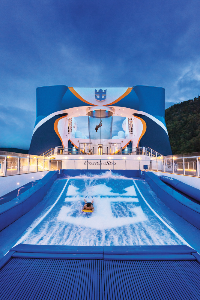 Ovation of the Seas top-deck adventures include Royal Caribbean's signature FlowRider surf simulator and skydiving on RipCord by iFly.