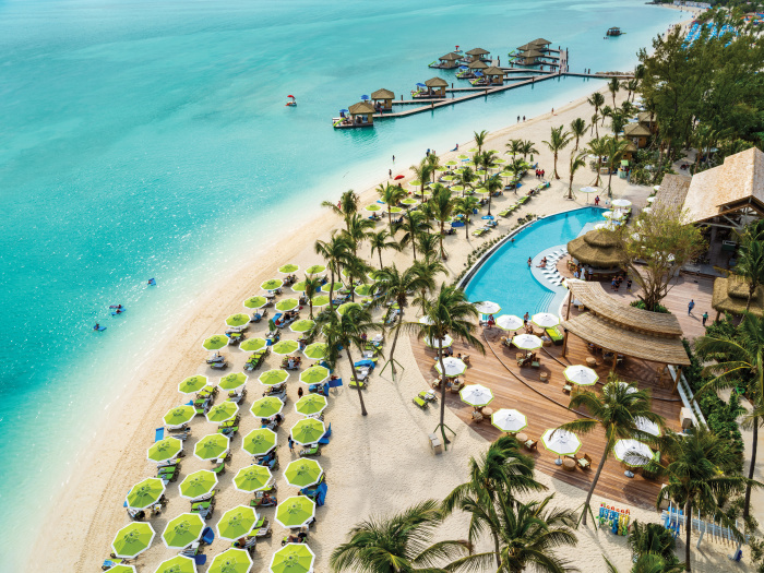 Coco Beach Club, the exclusive beach club at Perfect Day at CocoCay, touts the first floating cabanas in The Bahamas, a dedicated restaurant with upscale dining, an oceanfront infinity pool and beach cabanas with seaside views.