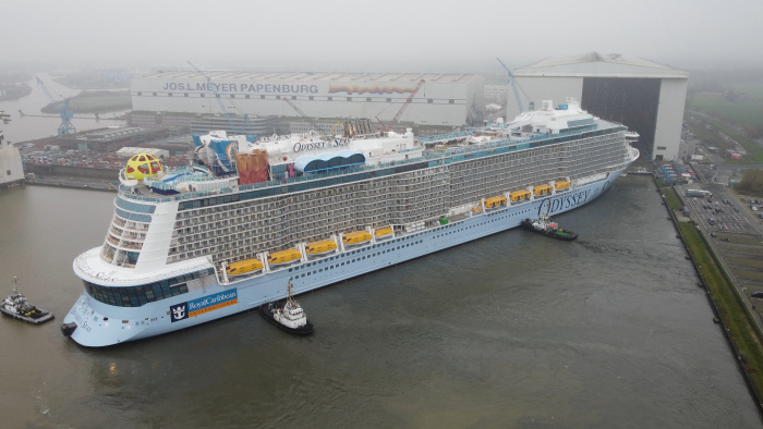 November 2020 – Odyssey of the Seas reaches its next construction milestone at Meyer Werft shipyard in Papenburg, Germany. Debuting in spring of 2021, the Quantum Ultra Class ship was floated out of the building hall to transfer docks – a process that took more than seven hours.