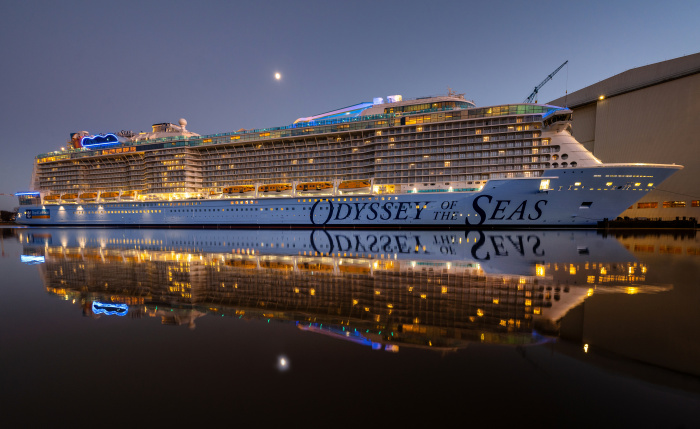 January 2021 - Odyssey of the Seas, Royal Caribbean's newest ship, outside of the Meyer Werft shipyard in Papenburg, Germany. The Quantum Ultra Class ship is nearing the final stages of construction before her delivery in Spring 2021.